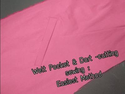 Women Midi Coat Dart  Welt Pocket Cutting Sewing Hindi   Ladies coat front pocket making. jeb