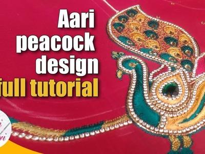 Aari peacock design full tutorial | peacock hand embroidery work | simple aari peacock design