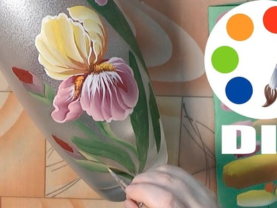 DIY, Decoration idea, Paint the Iris flower on a vase