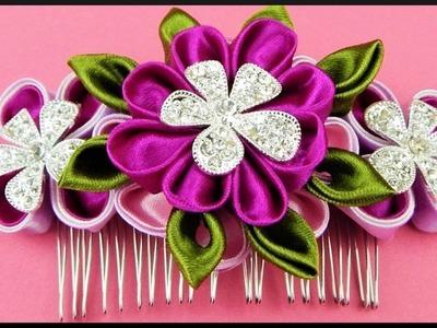 DIY Kanzashi | Blumen Haarschmuck aus Stoff | Ribbon hair comb with flower rhinestone | accessories