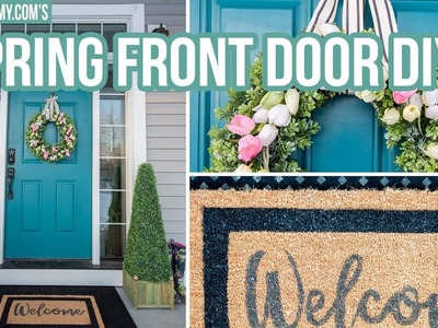 DIY SPRING FRONT DOOR DECOR | How to Make a Tulip Wreath & Welcome Mat
