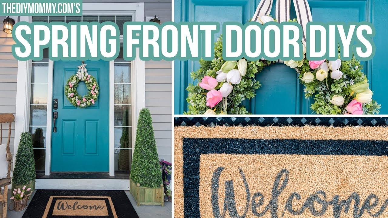 DIY SPRING FRONT DOOR DECOR | How to Make a Tulip Wreath & Welcome Mat