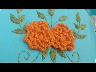 Hand embroidery 3D rose flower with leaves