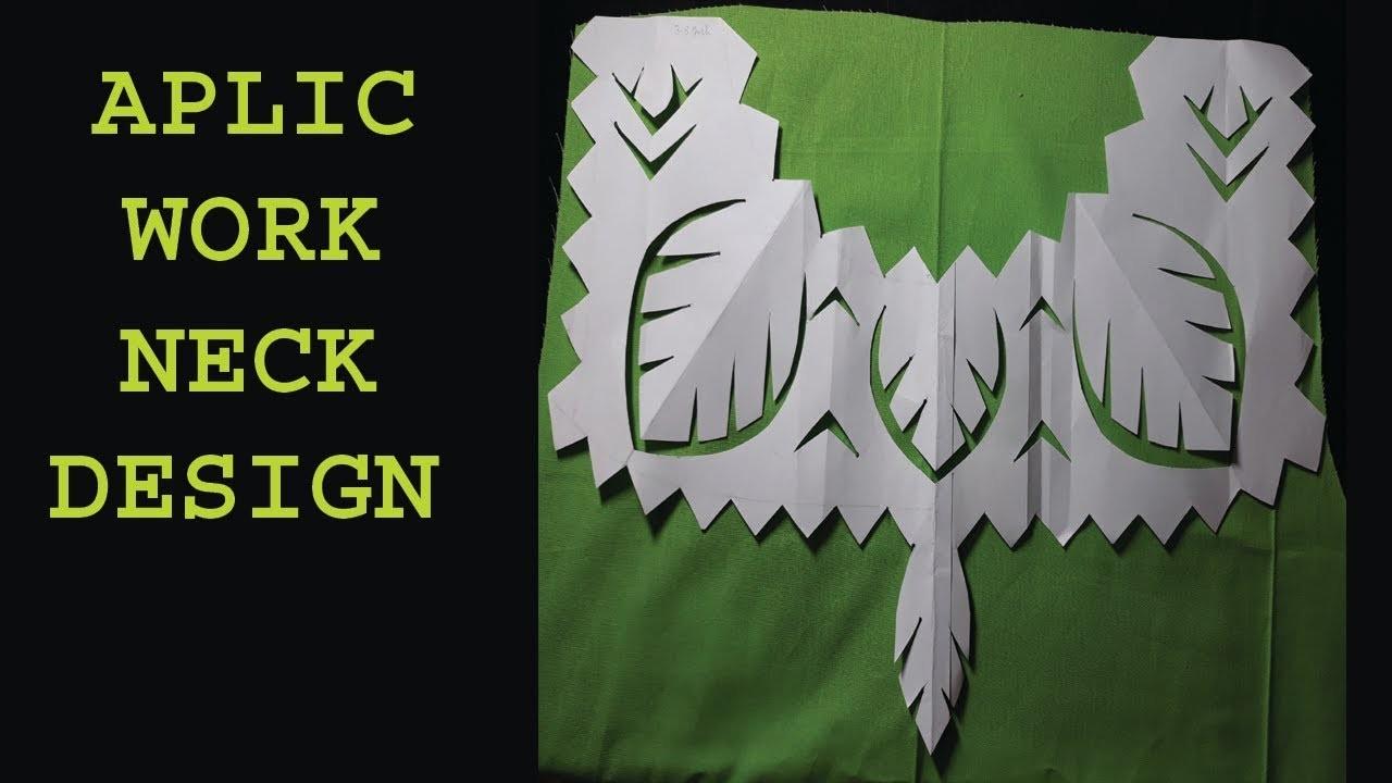Hand embroidery.aplic work shirt neck design tutorial.rilli work