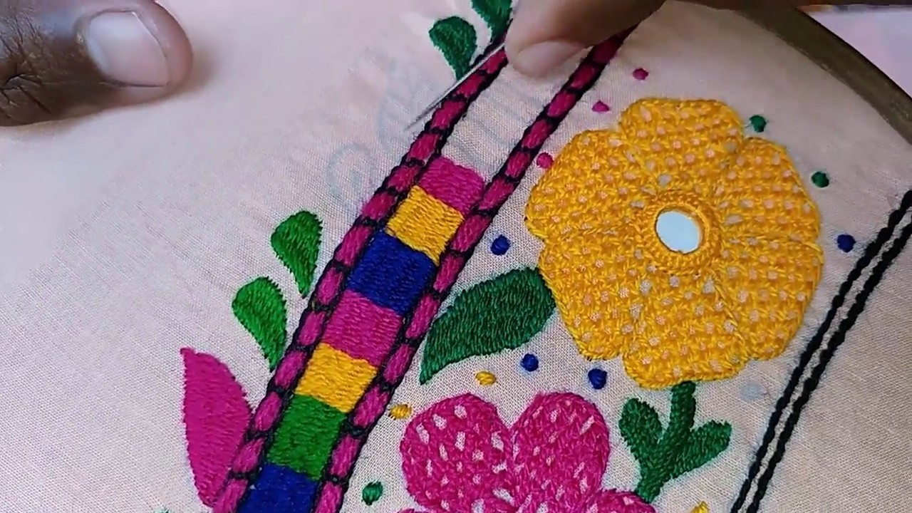 Hand Embroidery Butterfly Design Leaf Stitch Part 4