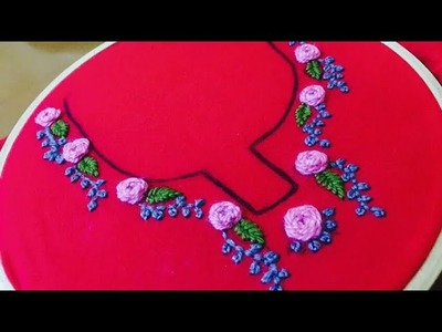 Hand embroidery stitches for salwar kameez, kurthis, tops. Easy hand embroidery stitches
