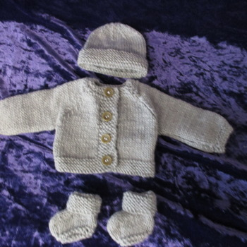 Hand knitted Jacket Hat & Socks set for Baby Reborn 14 Inch Doll Grey