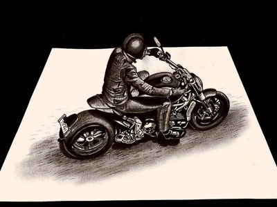 How to Draw a Motorcycle 3D