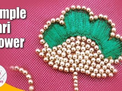 Simple aari flower tutorial | easy hand embroidery work | maggam work tutorial