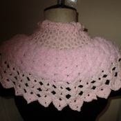 Victorian Style Capelet/Prom Cape Pink Fluffy Yarn Medium Size