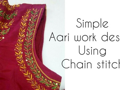 Aari. Maggam embroidery work| using only chain stitch| thread embroidery for beginners