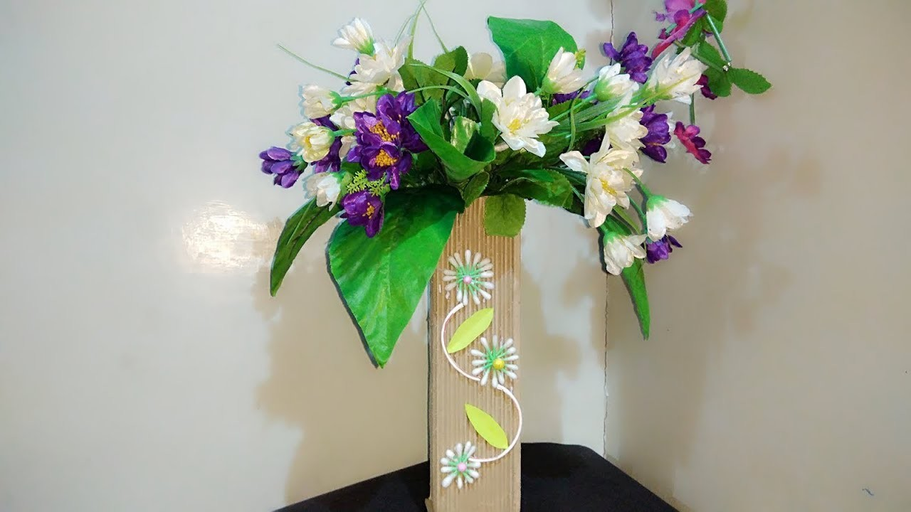 Best Craft From Cardboard.Flower Vase From Cardboard.DIY art and craft idea.Best Out Of Waste Craft & Best Craft From Cardboard.Flower Vase From Cardboard.DIY art and ...