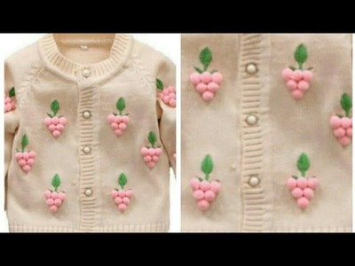 Cardigan Design for 10-15 years of Kids.Pom Pom Sweater Design.Embroidery on Sweater:Design-131