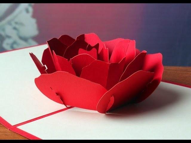 Diy Rose Flower Pop Up Card Simple Easy Handmade Craft Tutorial 2018
