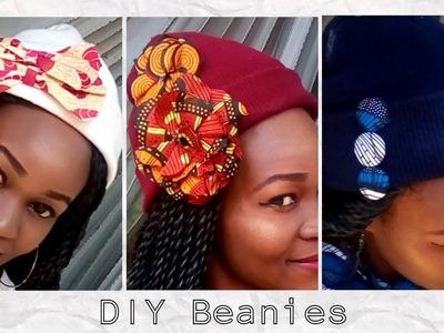 DIY 4-Custom BEANIES with African Print +4 WAYS to wear a beanie