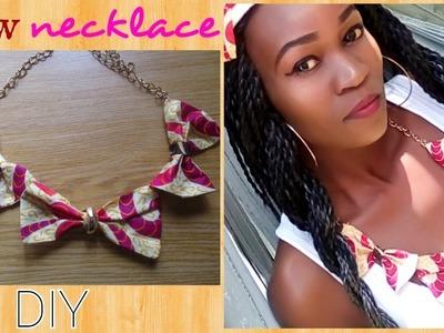 DIY African(Ankara) Print Bow Necklace-2 ways