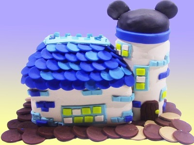 DIY Minnie and Mickey Mouse House with PlayDoh - How To Make Disney Mickey and Minnie Mouse House