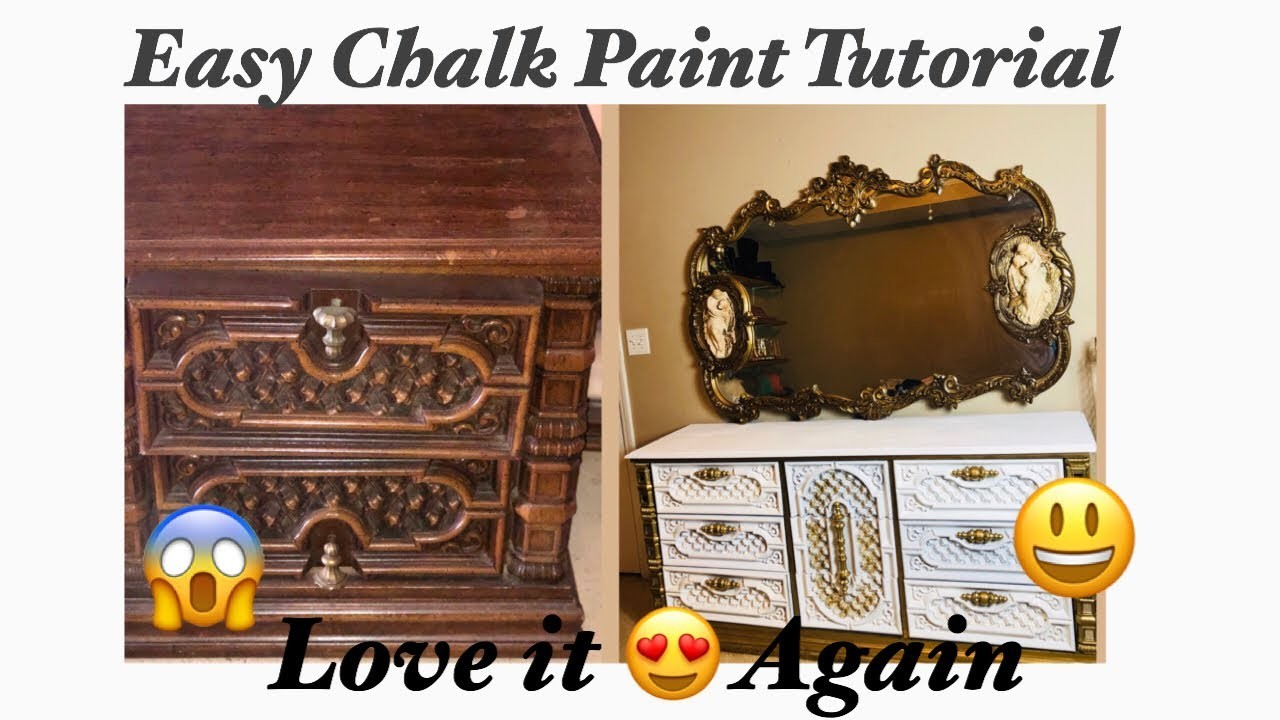 Easy Diy Chalk Paint Tutorial ( part 1 of the bedroom beauty bar) before and after