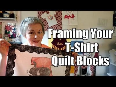 Heatnbond Light Fabric Frame Boarder on a T-Shirt Quilt Block
