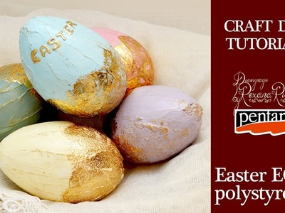 How to decorate easter eggs with gold foil. DIY Easter Craft Project. Pentart Gold 3D foil