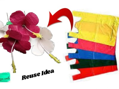 Hybiscus flowers with plastic carry bags | Best out of waste | Reuse ideas with jute bag