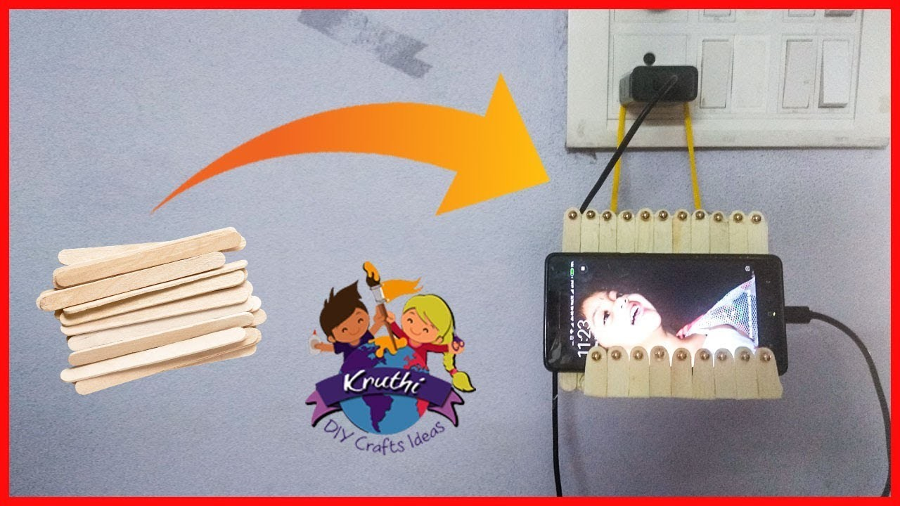 Icre cream Sticks Mobile  Charging Holder | Popsicle Craft Mobile Stand | Kruthi DIY Craft Ideas