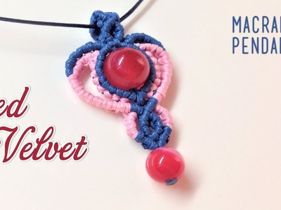 Macrame pendant tutorial - The 3rd element of Red Velvet macrame jewelry set