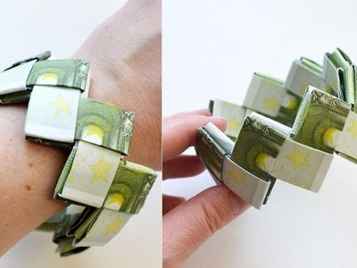 Money BRACELET EURO Origami Tutorial DIY Folded No glue and tape