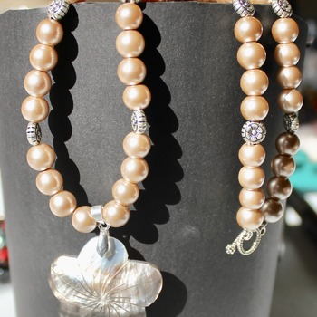 Smoke Glass Pearl Necklace with Abalone Shell Pendant