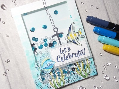 Stampin up Fish Shaker Card#74_Simply Sketched Saturday Challenge February 2017