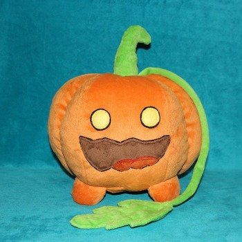 Toy made from drawing. Pumpkin Pet, Steven Universe, commissioned plush, pumpkin dog, Jack O Lantern, halloween