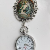 Vintage Cabochon Large Brooch Fob Watch