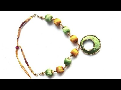 #17 how to make silk theads necklace.silk ornament.সুতার মালা.jewellery making