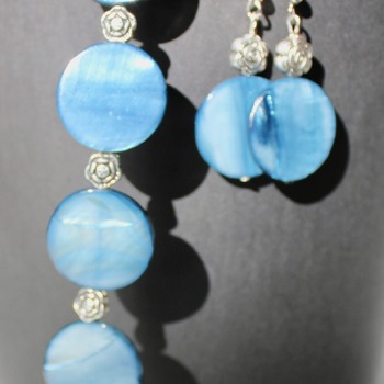 Blue Disc Bracelet and Earrings Set