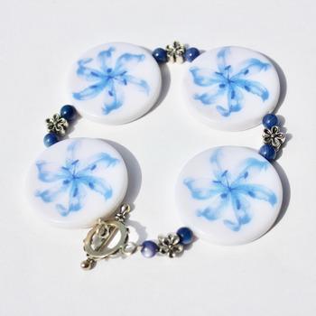Blue Flower Chunky Bracelet