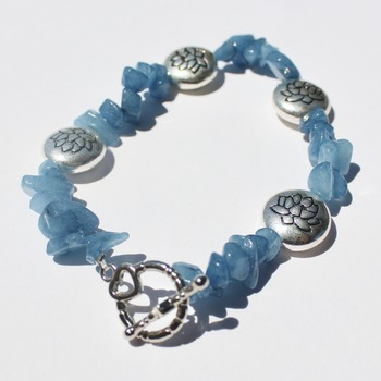 Blue Stone Chip and Lotus Bead Bracelet