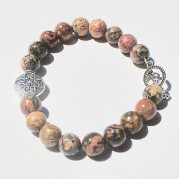 Brown Marble Bracelet with Accent Bead