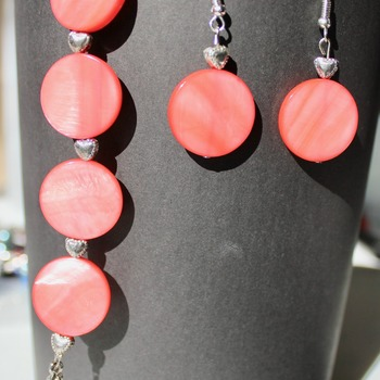 Coral Disc Bracelet and Earrings Set