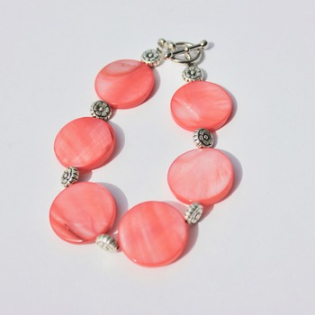 Coral Disc Bracelet with Flower Accent Beads