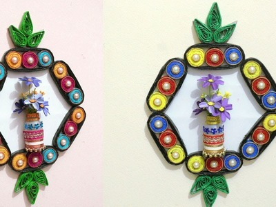 DIY - Best out of Waste - How to Make Wall Hanging Flower Vase from Newspaper & Plastic Bottle