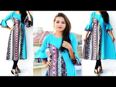 DIY Designer Kurti With Bell Sleeves Cutting And Stitching Tutorial