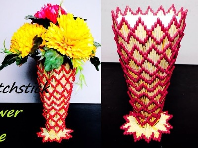 DIY | How to make Flower Vase | Showpiece with Matchstick