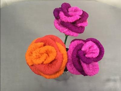 DIY; How To Make Rose Flower With Paper | کار دستی  ساخت گل گلاب با کاغذ