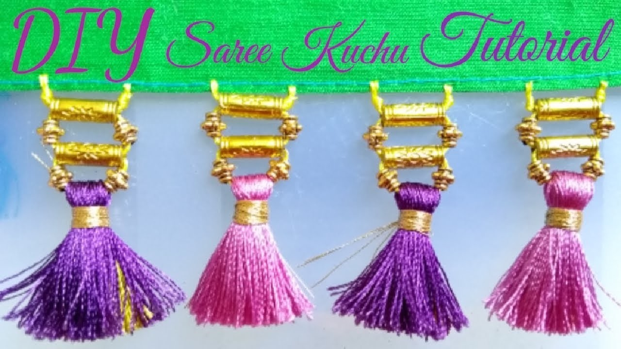 DIY How to make saree kuchu at home Double Colour Tutorial
