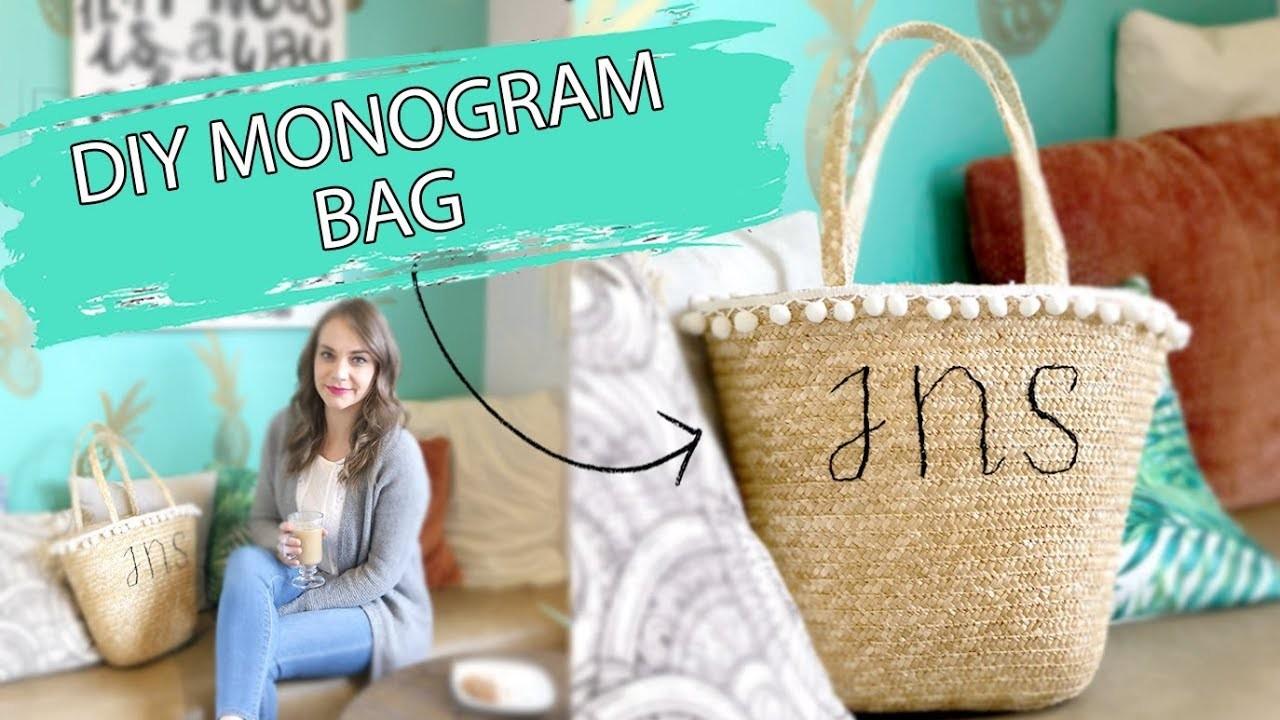 DIY Monogram Beach Bag | Straw Bag DIY Tutorial