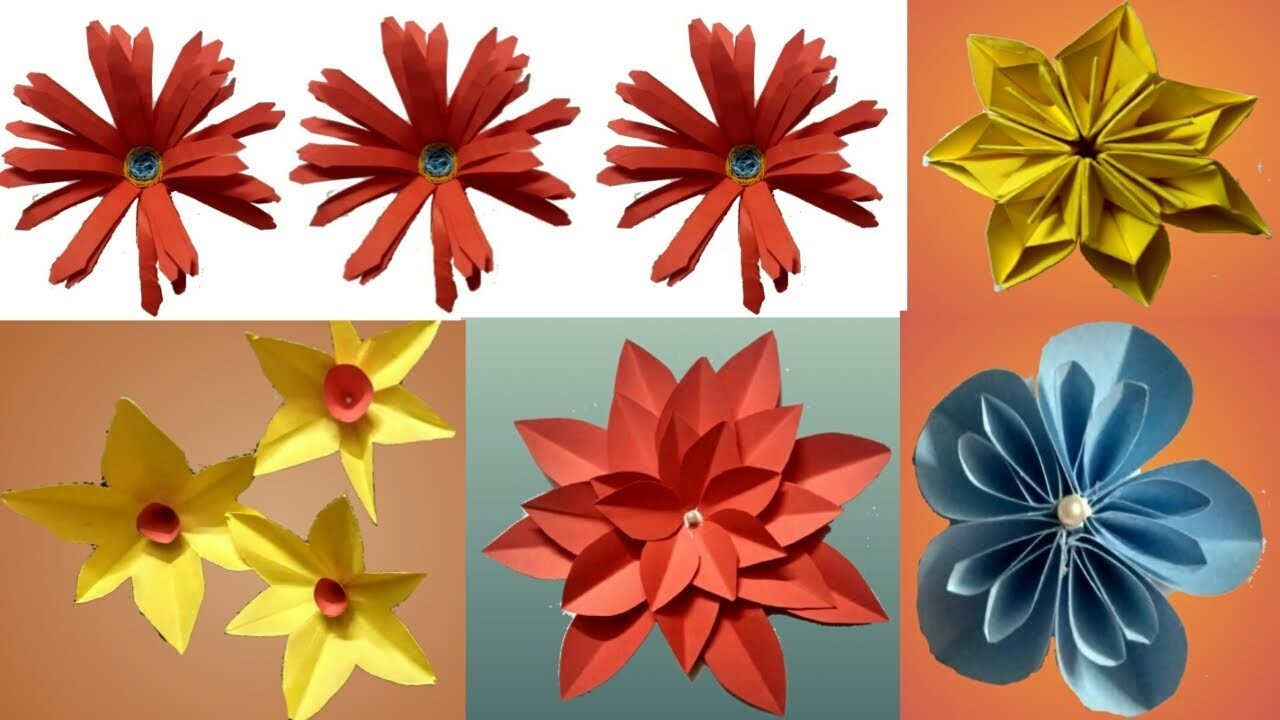 Diy Top 5 Beautiful Folded Paper Flower How To Make Paper Flower