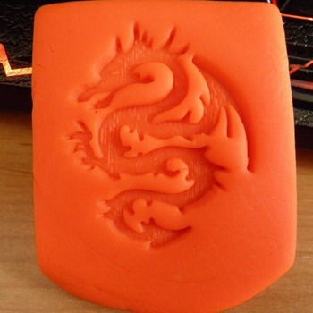 Dragon stamp for MANY USES cake decorating-polymer clay -soap - pottery