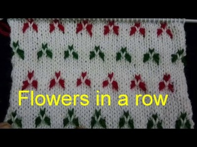 Flowers in a row || multicolour || Beautiful Knitting Stitches || Knitting design for Sweaters ||