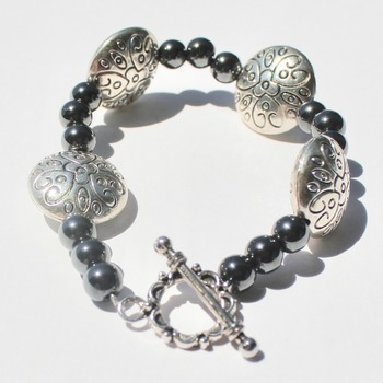 Hematite and Round Stainless Steel Bead Bracelet
