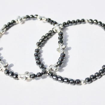 Hematite and Stainless Steel Bead Accent Bracelets